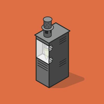 Illustration isométrique borne anti moustque Qista